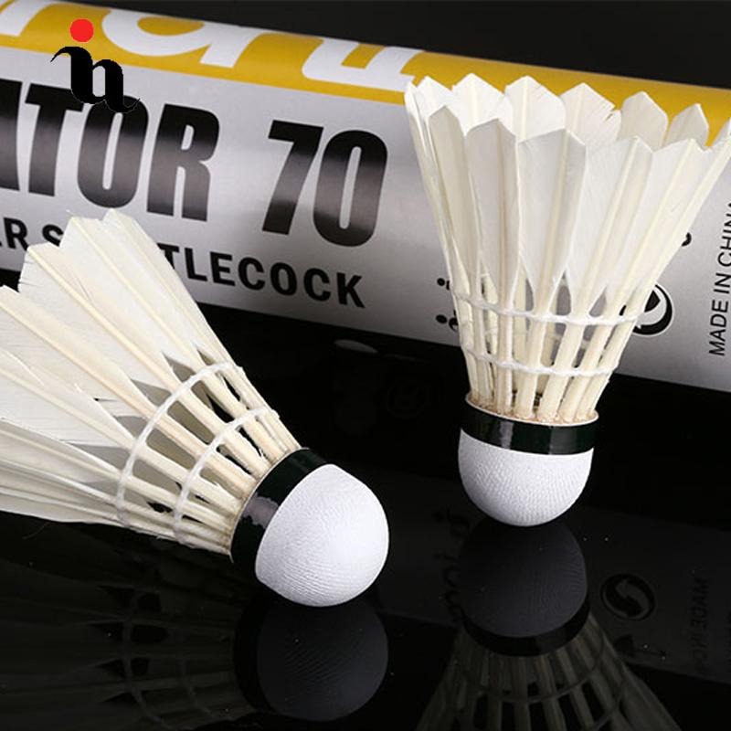 IANONI Badminton Ball A70 12 Set Black Goose Feather Wash White Training Ball High Quality Durable Badminton Accessories Package