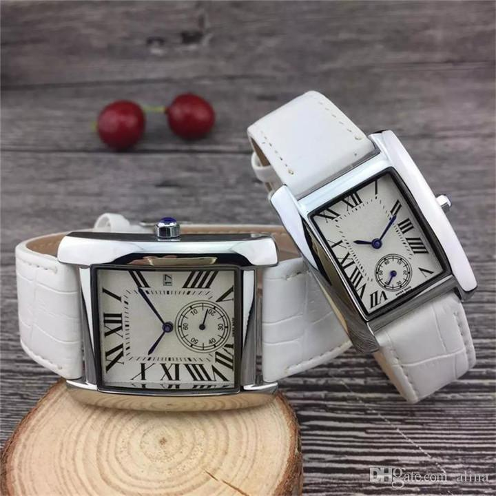 Hot Fashion man 35mm women 28mm leather watch Square luxury Couple wristwatch with date high quality DHL free