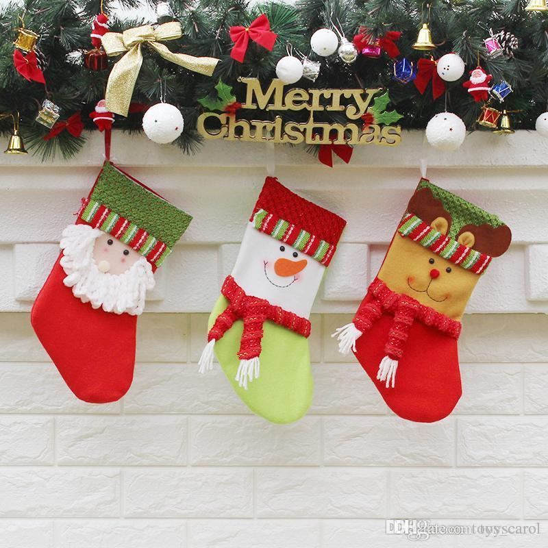 2019 new christmas stockings gift bags christmas decorations gifts christmas tree decorations pendants candy bag 19x105x12cm boy christmas toys best - New Christmas Decorations