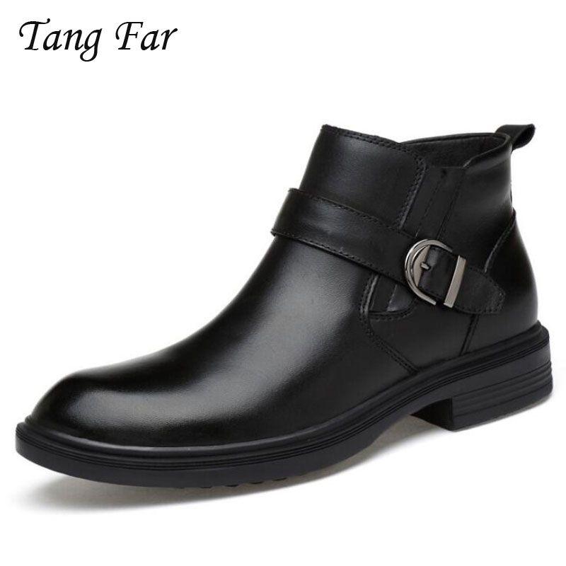 673e6c98fbe Compre Botas De Piel De Hombre De Hebilla De Piel Caliente Hombre De  Negocios Casual High Top Shoes Negro Hombre Caucho Botines De Invierno De  Tobillo A ...