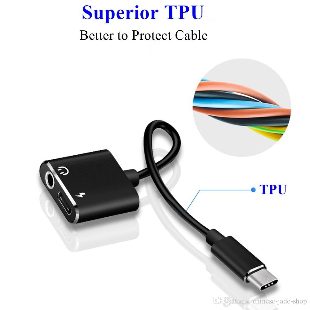 2 EN 1 Tipo C Adaptador de Cable de Audio Aux USB Tipo C a 3.5mm Auricular Jack Cargador de carga Adaptador Para Samsung teléfono inteligente 300 unids / lote