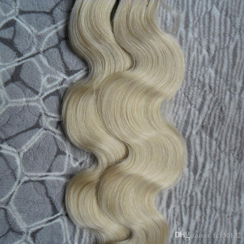 100g 613 Bleach Blonde Tape In Remy Human Hair Double Drawn Remy Body Wave Hair Bundles Weaves PU Tape On Hair Extensions