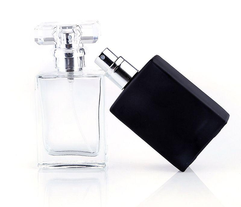 Sıcak Satış 30 ml Temizle Siyah Taşınabilir Cam Parfüm Sprey Şişeleri Boş Kozmetik Kapları Ile Atomizer Için Gezgin