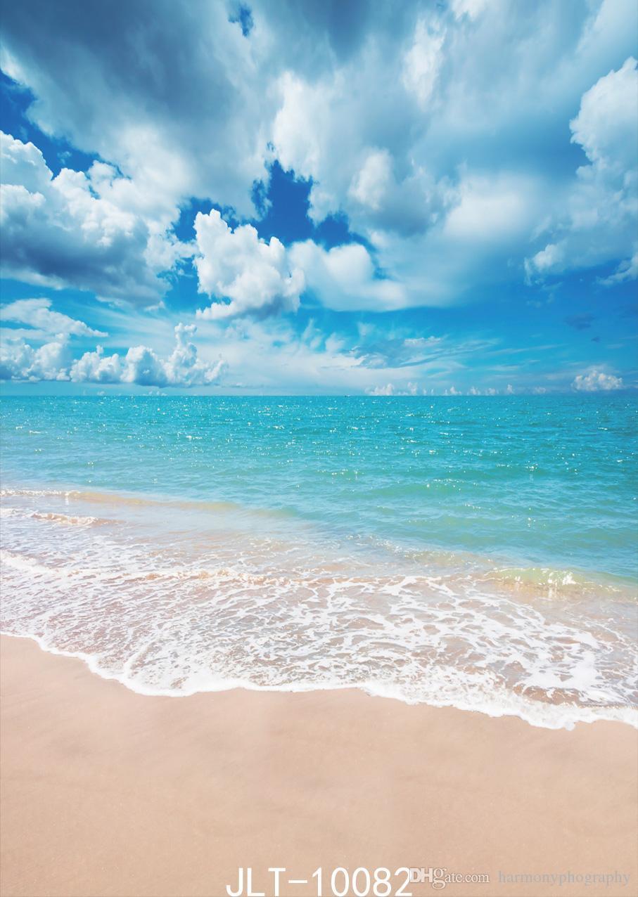 Acquista Spiaggia Sfondo Fotografico Blu Mare Blu Cielo E Nuvole