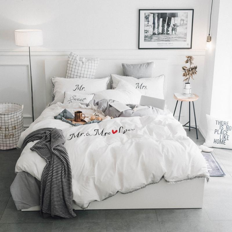 Grosshandel Weiss Grau Rosa 100 Baumwolle Stickerei Bettwasche Set