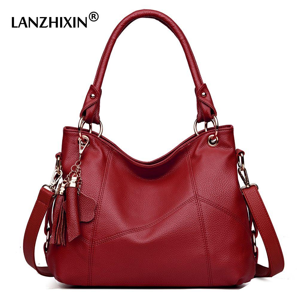 ba807697f Compre Lanzhixin Mulheres Bolsas De Couro Das Mulheres Sacos De Mensageiro  Designer De Saco Crossbody Mulheres Tote Bolsa De Ombro Top Handle Bags  Vintage ...