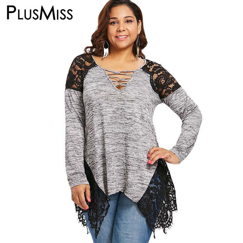68283a861de52 2019 PlusMiss Plus Size Sexy Lace Cold Shoulder Long Sleeve Blouse Women Big  Size Autumn 2018 Lace Up Vintage Loose Tunic Long Tops D18103104 From  Tai01