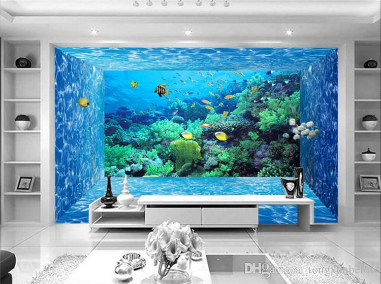 Custom 3D Photo Wallpaper Mural 3D Stereoscopic Space Underwater World Living Room Bedroom TV Background Paper Wall Papers 3D