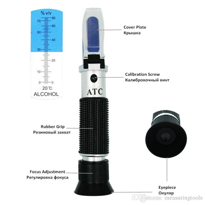 2018 Portatile Rifrattometro Alcol 0-80% Brix V / V Liquore Contenuto Alcool Contatore Tester Alcolometro Con Scatola Al Minuto