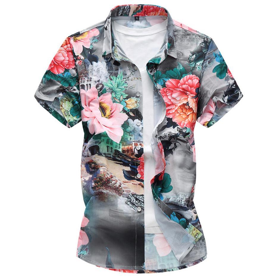 3d23e8d1037b Plus Size 7XL New Summer Fashion Men s Shirt Slim Fit Men Short ...
