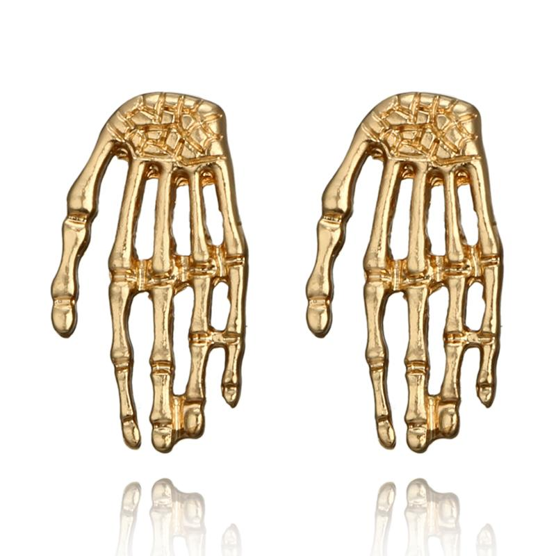 Punk Gold Color Hand Shape Stud Earrings for Women Personality Alloy Geometric Studs Earring Statement Jewelry Fashion Jewelry Wholesale