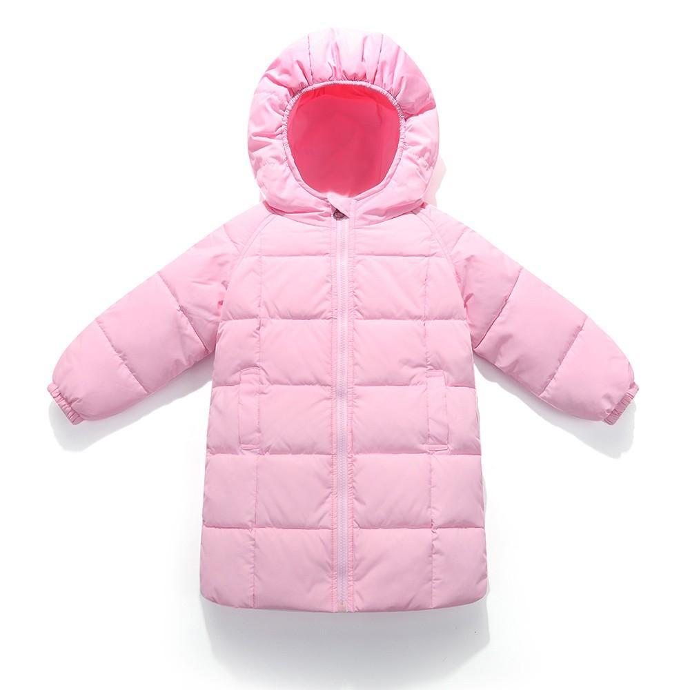 3c8dbda33 Kids Baby Girl Boys Winter Solid Hooded Coat Cloak Long Down Jacket Thick  Warm Outerwear Clothes Manteau Fille Casaco Menina 10 Kids Puffer Coats  Long ...