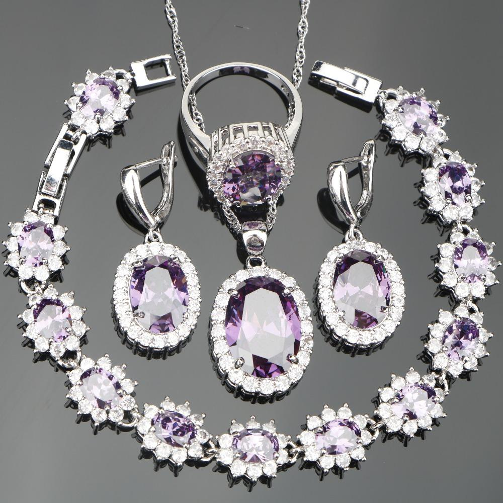 bb2fbf1d6 Women Girl Silver 925 Costume Jewelry Sets For Wedding Accessories Earrings/ Necklace/Rings Set With Purple Zircon Free Gfit Box Vintage Wedding Jewelry  Sets ...