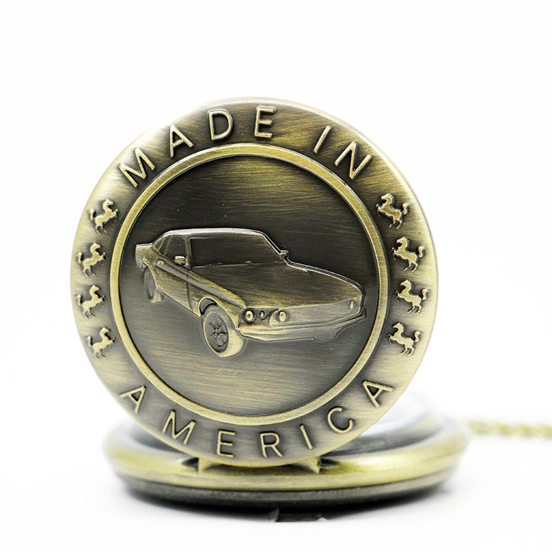 Bronz Mustang Araba Desen Kuvars Pocket saat ile Anahtarlık Erkek Kadın Saat Hediye Adam Için