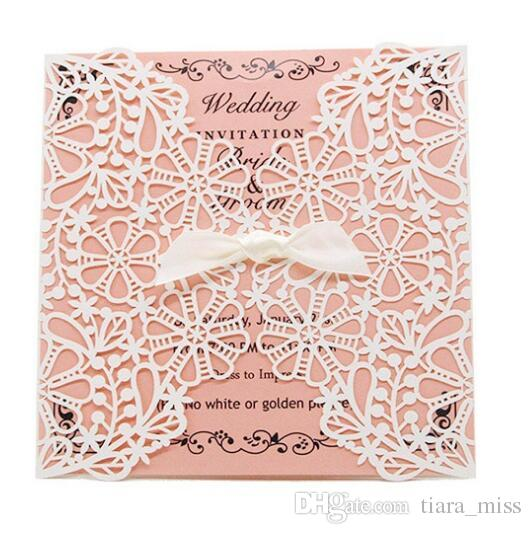 New Cheap Laser Cut Wedding Invitations White Paper Black Wedding Invitation Card Flowers Hollow Wedding Cards