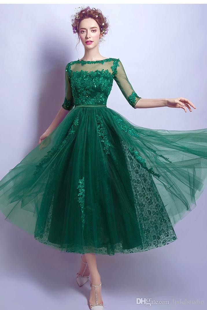 Dark Green Prom Dress tea length Tulle Lace Prom Dresses Evening Gowns Scoop Sleeveless Zipper with buttons Back 2018 New Arrival Royal Blue