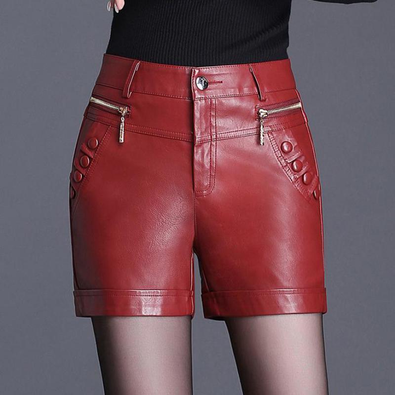 Compre Invierno Otoño Moda Mujer 3xl 4xl De Talle Alto Rojo Negro Faux Pu  Pantalones Cortos De Cuero 6cd977a511fe