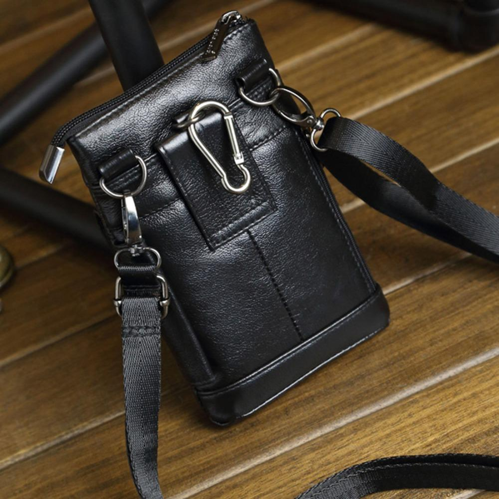 100% Natural Leather One Shoulder Messenger Mini Fanny Bags Men Cell Phone Case Purse Male Real Cowhide Hook Belt Pack Waist Bag