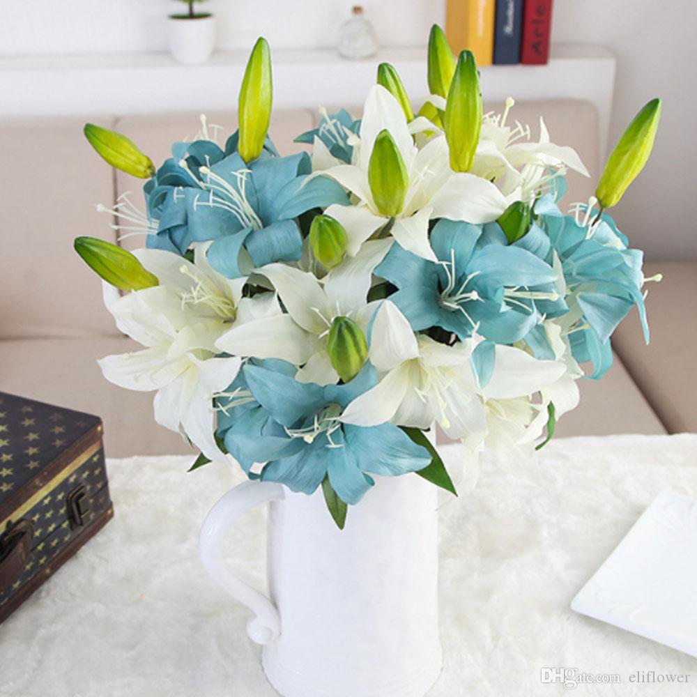 2018 Artificial Flowers Silk 57cm Plant Fake Lily Flower For Wedding