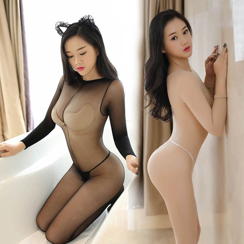 a3019ec95 2019 Sexy Crotchless Lingerie Bodystocking Ultra Thin Transparent Tights  Stocking Long Sleeve Open Crotch Women Full Body Pantyhose From Ppkk