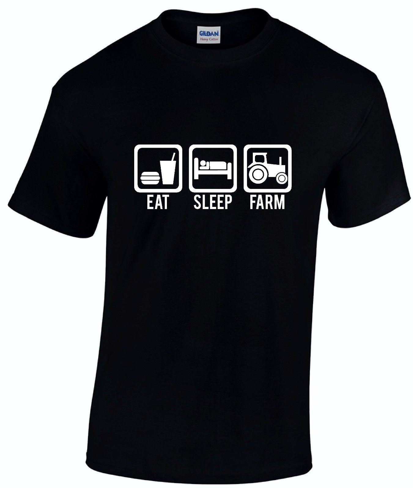 38058e156892d Eat Sleep Farm Tshirt - Farmer Farming Tractor Kids Gift Mens Unisex  T-shirt New T Shirts Funny Tops Tee New Unisex Funny Tops