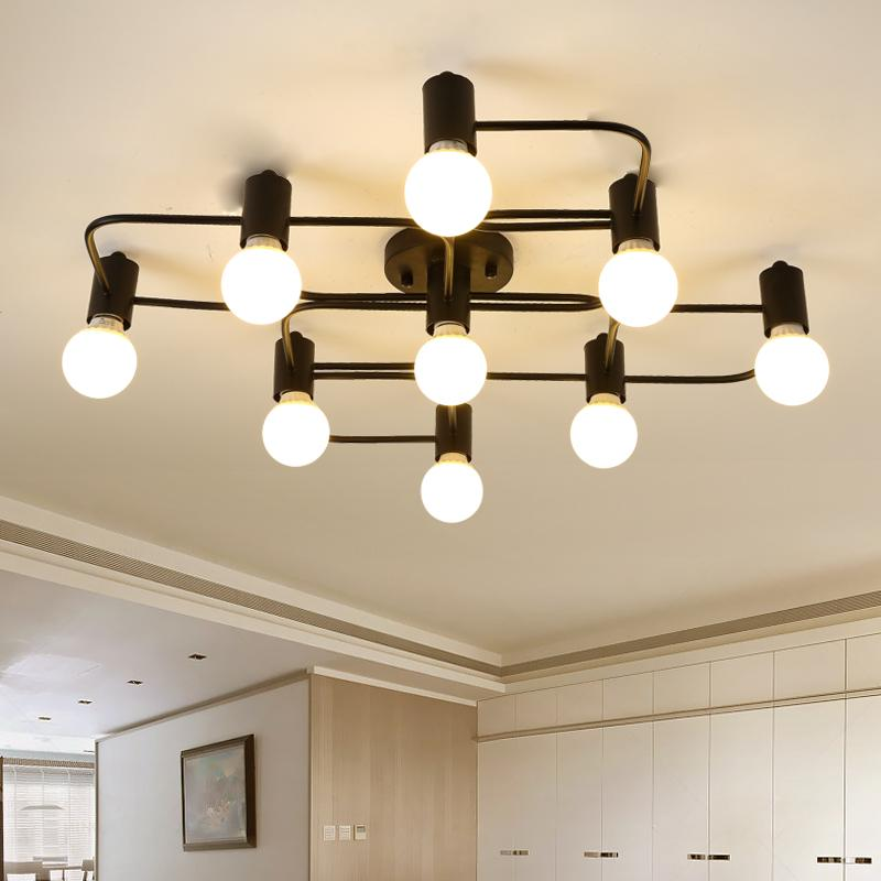 Chandelier Vintage Loft Art Deco For Dining Room Living Black Lighting Light Fixture Lamparas De Techo Lustre Lamps Wrought Iron