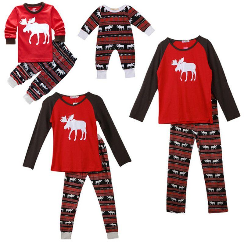 f3de7dc64a Family Xmas Pajamas Outfits New Autumn Winter Women Men Adult Kids Baby Warm  Sleepwear Santa Deer Christmas Print Striped Sleepwear Set Cotton Pjs For  Boys ...