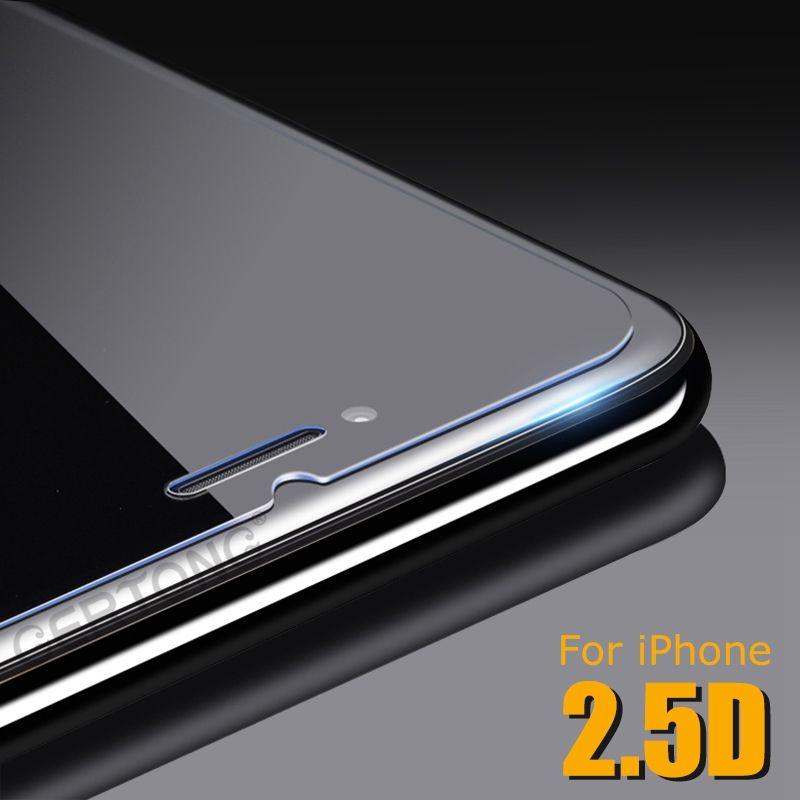 Cristal templado 2.5D para iPhone X ix 8 plus 9H Disco protector de pantalla transparente con borde Arc Edge de 0.3 mm con paquete de papel