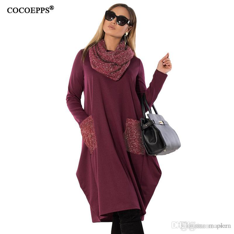 fb152a11888653 COCOEPPS 2018 New Plus Size Vêtements Femme Hiver Loose Womens Dress  Grandes Tailles Casual Robes Manches Longues Vestidos 5XL 6XL Bleu