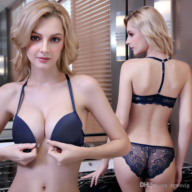 Compre Sujetador Abierto Inalámbrico De Encaje Sexy Conjunto Para Mujer  Push Up A B C Suéter Bordado De Copa Más Conjunto De Ropa Interior Sujetador  Y ... a1088403b554