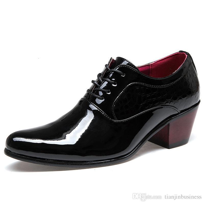 Zapatos del estilo británico de Oxford para oxfords de los hombres los hombres del cuero de patente Zapatos formales atan para arriba los tacones altos zapatos de vestido de negocios