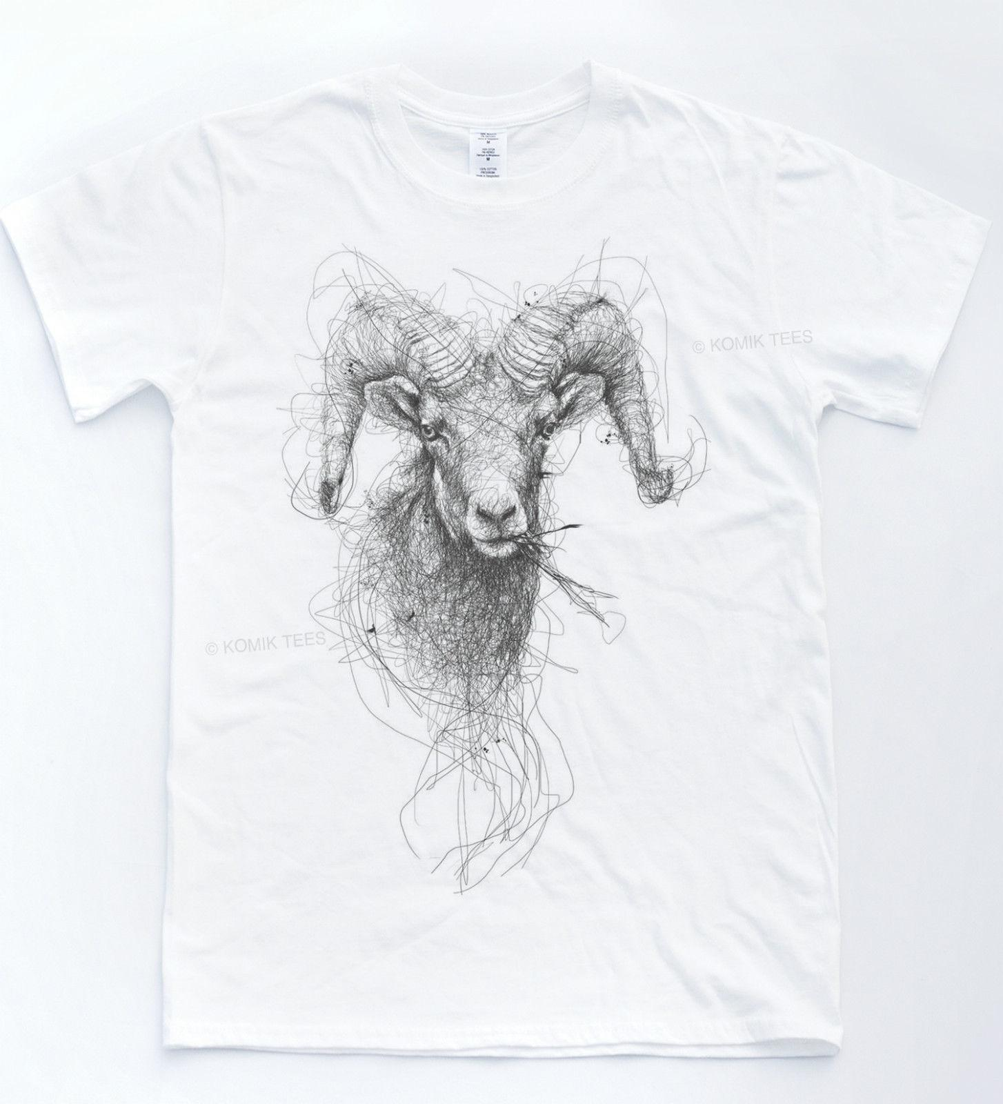 Ram Sketch T-shirt Indie Drawing Hipster Tee Animal Horns Art Cow Top Cool  Casual pride t shirt men Unisex New Fashion