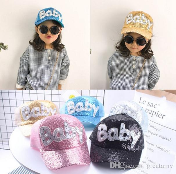 2b1e73b22 2019 New Design Kids Baby Sequins Cap Adult Children Sun Hat Summer Net Baseball  Cap Glitter Sparkling Shiny Hats Adjustable Cap From Greatamy, ...