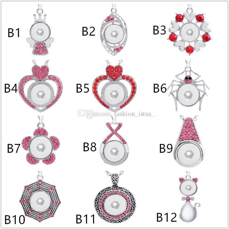 36 abbondante rosa di stili Noosa Chunk Bottoni automatici assortiti Collane con ciondolo Collana con catena in acciaio inossidabile