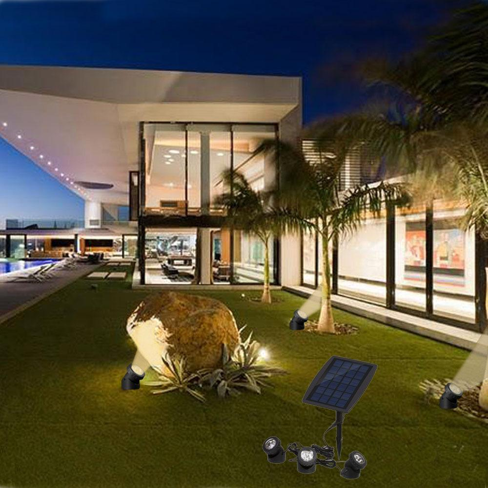 3 Head Solar Lawn Lamp White Warm Blue Ip68 Led Underwater Garden Lighting Using Cells Pool Spot Light Outdoor Courtyard