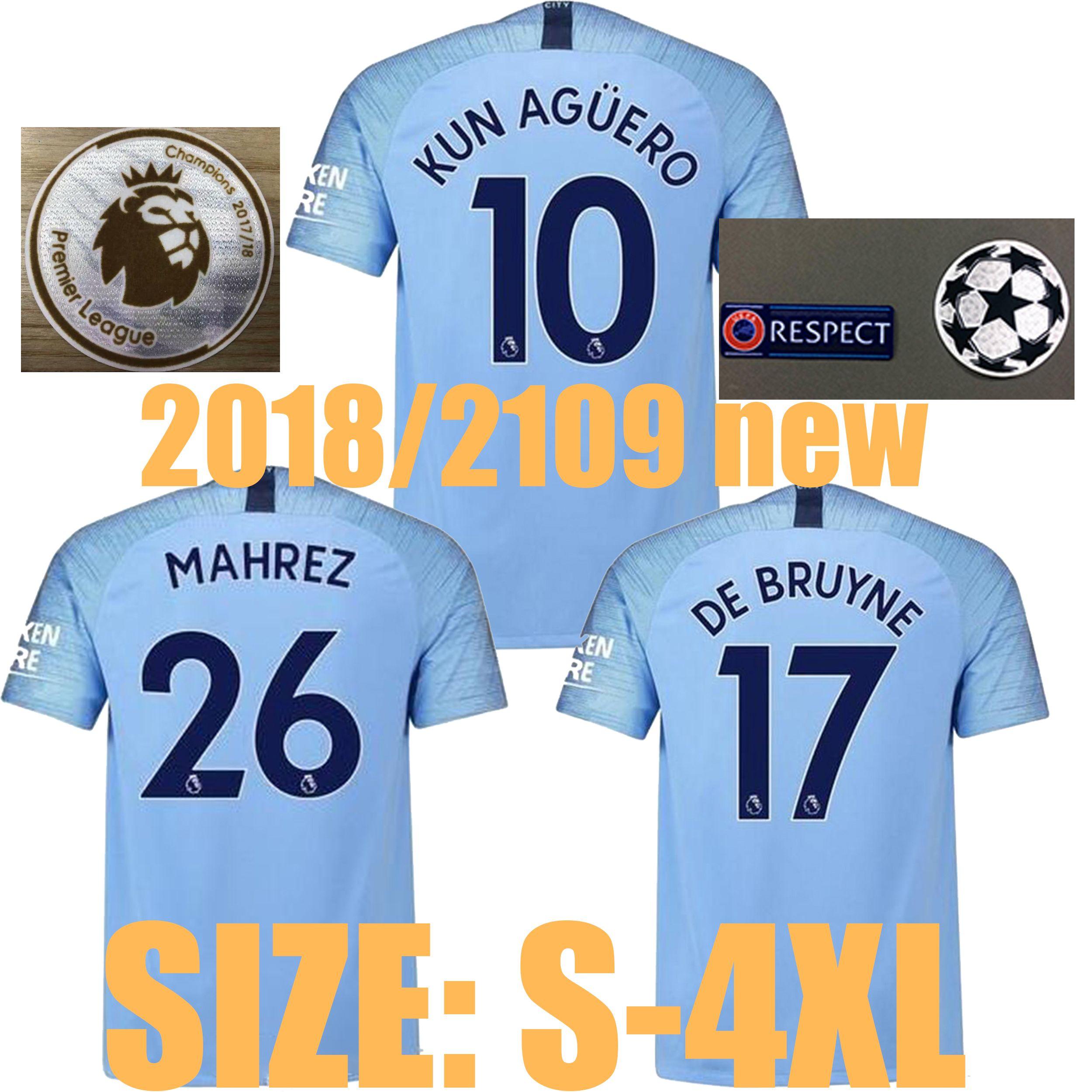 2317fc4dd5 SIZE S-4XL 2018 2019 Man City Soccer Jersey 2018 2019 MAHREZ KUN ...