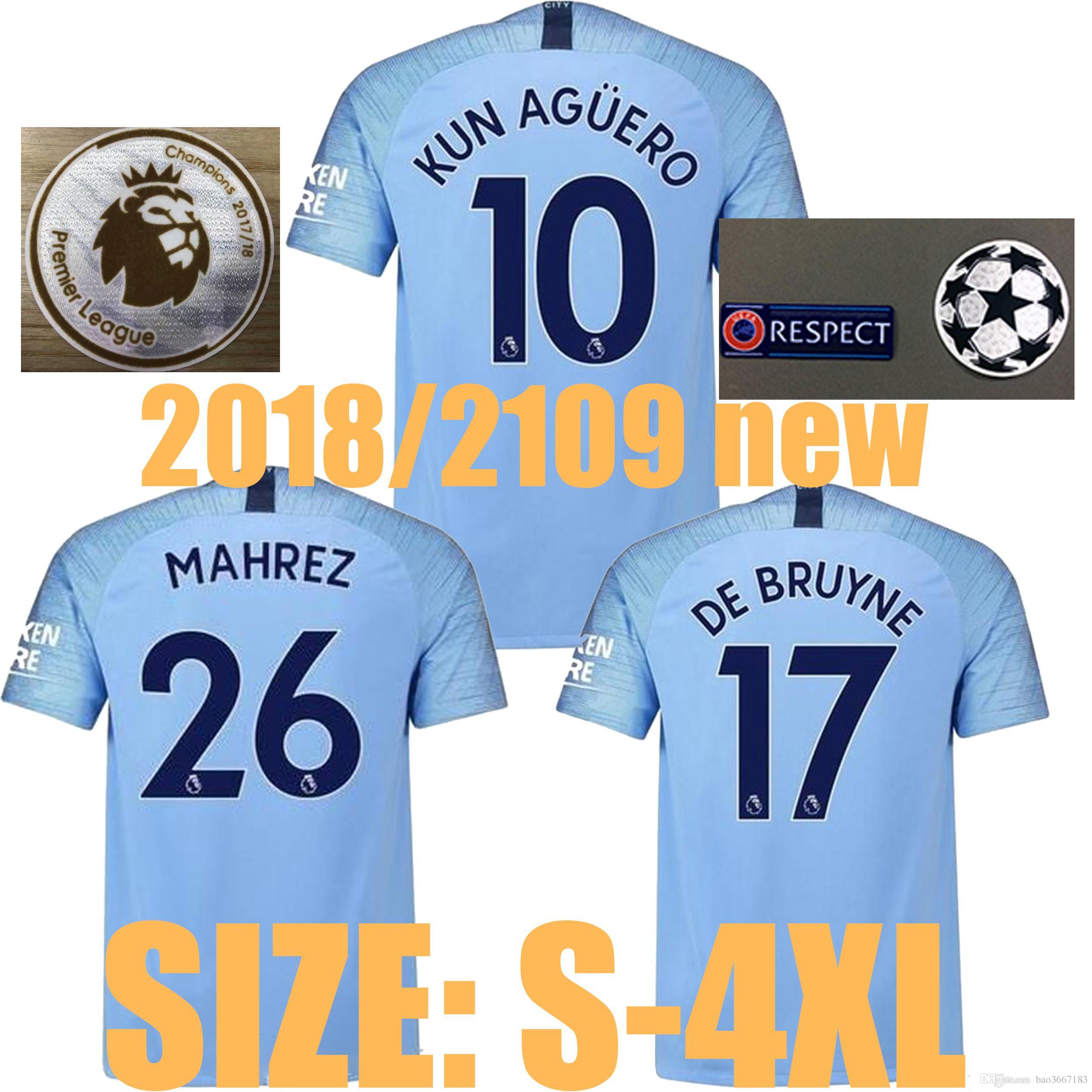 Compre TAMANHO S 4XL 2018 2019 Man City Camisa De Futebol 2018 2019 MAHREZ  KUN AGUERO SANE G. JESUS DE BRUYNE 2018 Camisas De Futebol Da Cidade Do  Homem ... d4d4f2b942540