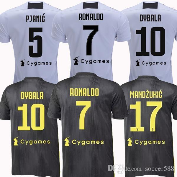 e85f3af49 Compre Tailândia CR7 RONALDO 18 19 Juventus 3 Camisa De Futebol 2018 2019  DYBALA Kit Camisa De Futebol PJANIC MANDZUKIC Camiseta MATUIDI Maillot De  Pé De ...