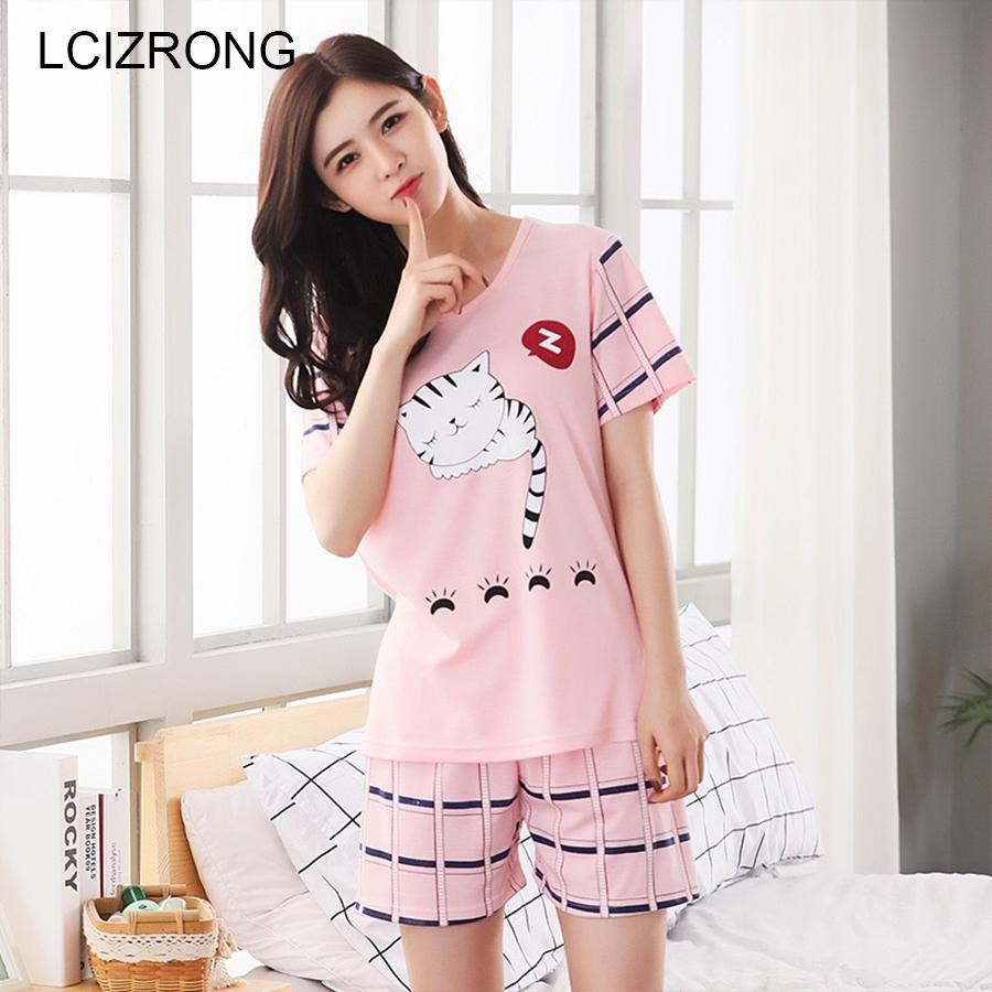 2092503508 2019 Cute Cat Pyjamas Sets Women Summer Cool Cartoon Pajamas 21 Pattern  Bear Girl Home Nightgown M XXL Big Size Ladies Nightshirt From Volontiers