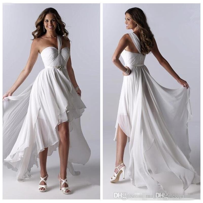 compre diosa griega un hombro gasa vestidos de novia alta baja