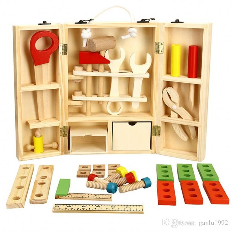 DIY portable wooden children play toy set simulation puzzle boy maintenance intelligence toolbox 39xq W
