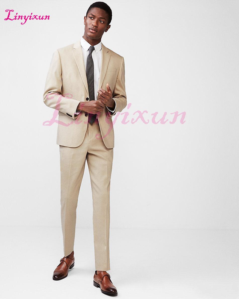1b5ec412f26d 2019 Linyixun 2018 Khaki Coat Pant Designs Beige Men Suit Prom Tuxedo Slim  Fit Groom Wedding Suits For Men Custom Blazer Tern From Baldwing, ...
