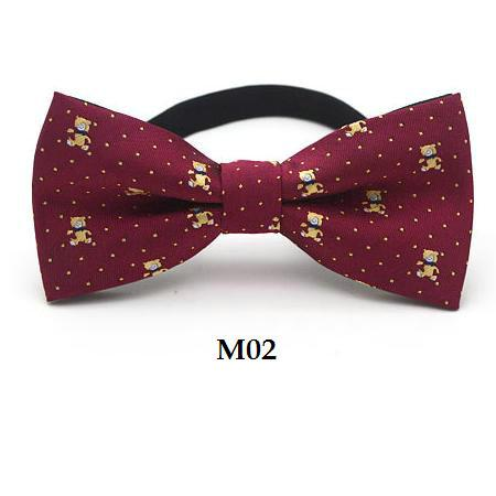 fashion children butterfly bowknot cartoon strip bow tie 10*5cm adjustable elastic rope neckwear blue yellow red