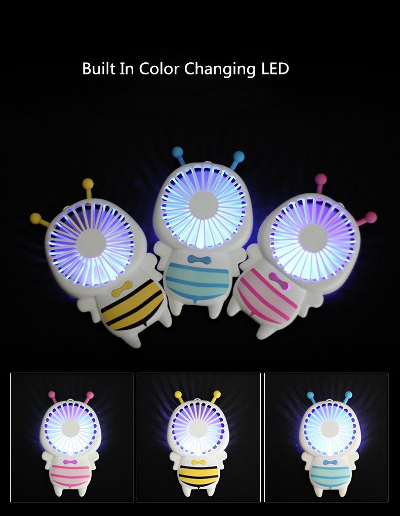 Baby Bee Small Fan With LED Portable Ultra-Slim Mini Fans 4W Handy Quite USB Fans For Students Office Outdoor