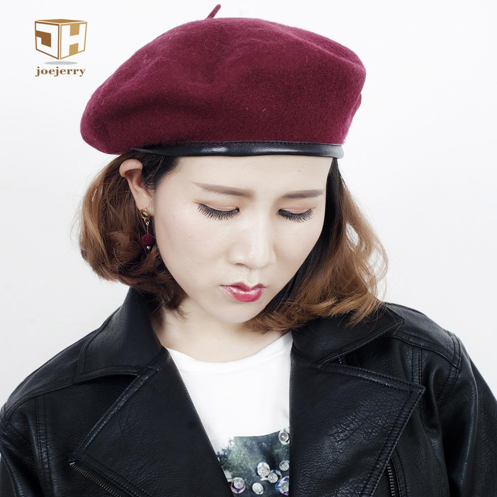 2019 JOEJERRY Wool Beret Female Leather Beret French Hat Military Flat Cap  For Women Winter Autumn Spring S18101708 From Datai 0b895e23c777