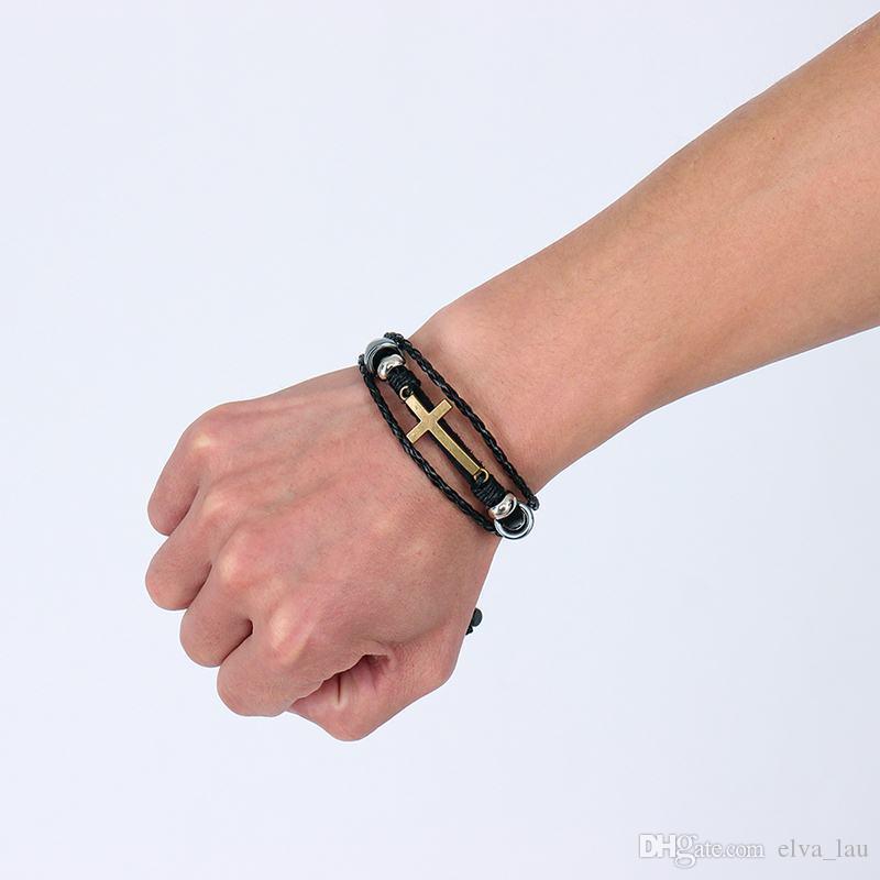 Bohemia Cross Charm Leather Bracelet for Women Men Size Adjustable Vintage Retro Rope Chain Bracelet Jewelry