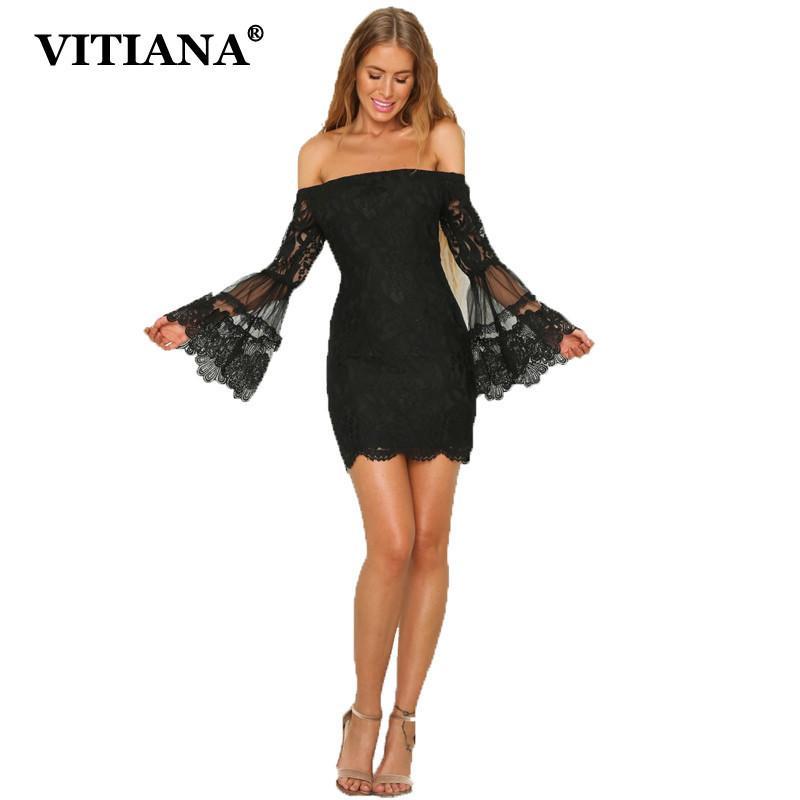 1a9bddcf5276 Mujeres sexy vestido de fiesta de encaje 2017 negro sin tirantes sin mangas  de la envoltura de la manga de la flama Solid Club vestidos de mujer ...