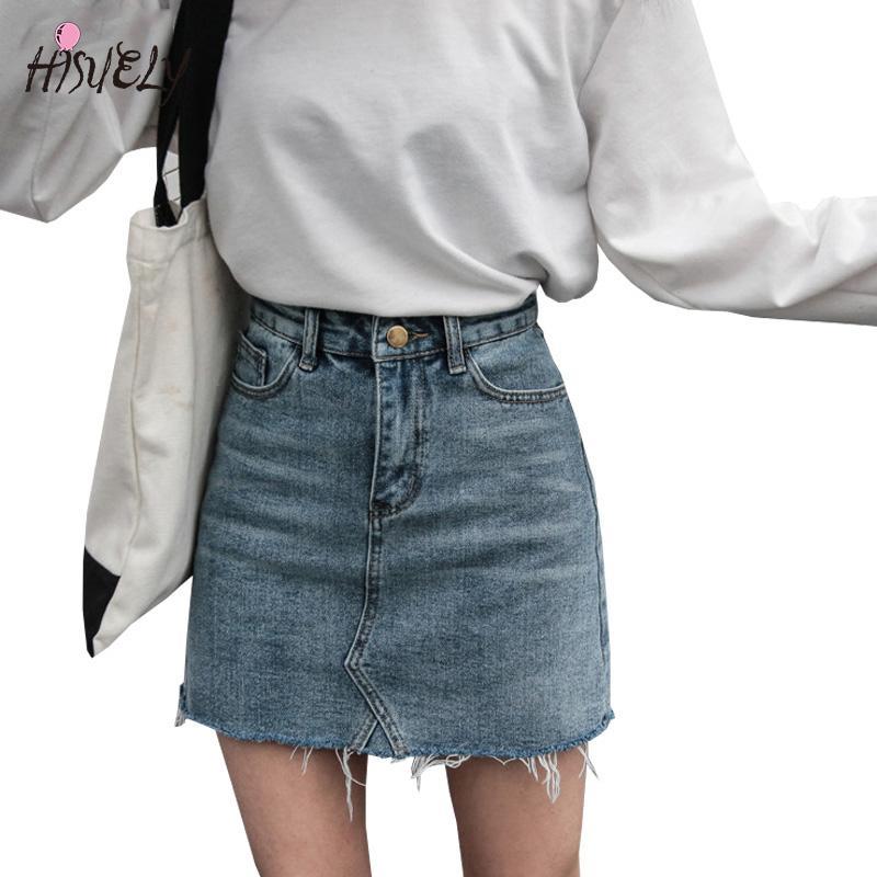 1b67f694d 2018 recién llegado de moda de verano faldas de cintura alta bolsillos para  mujer botón de mezclilla falda femenino Saias todos coincidentes ...