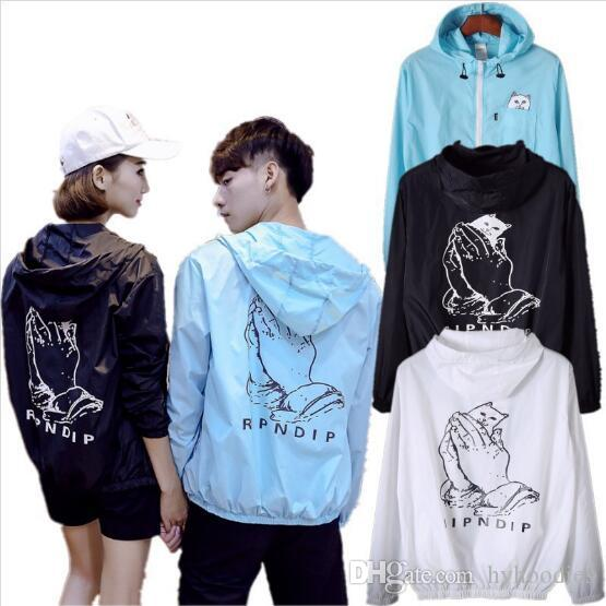 Summer Men Women Sunscreen Shirt Hoodie Lovers Thin Black White Camo Windbreaker Teenager Hip Hop Streetwear Jacket Coat