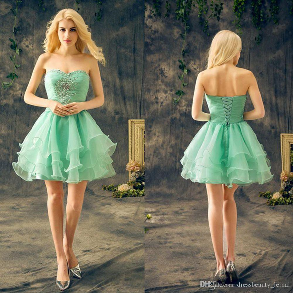 New Mint Green Short Homecoming Dresses Sweetheart Sleeveless Crystal  Beaded Ruffles Chiffon Cheap Cocktail Party Dresses Cheap Plus Size Homecoming  Dresses ... 3984935f365f